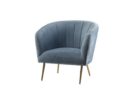 moderner Sessel in hellblauem Samt